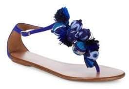 Aquazzura Tropicana Suede Tassel Sandals