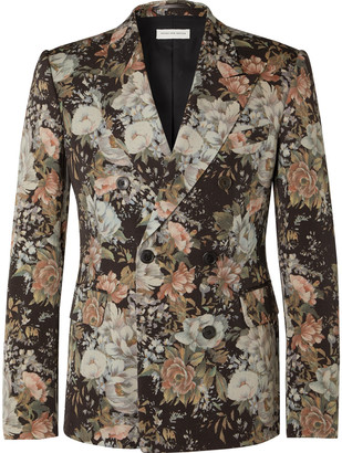 Dries Van Noten Double-Breasted Printed Wool-Twill Suit Jacket