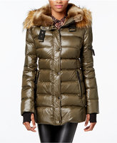 S13 Faux-Fur-Trim Shimmer Down Puffer Coat