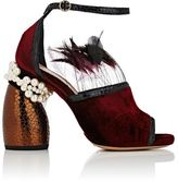 Dries Van Noten Women's Sculpted-Heel Velvet Ankle-Strap Sandals-BURGUNDY
