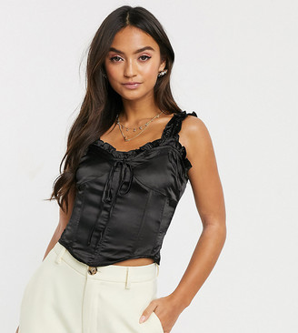 Wild Honey satin structured corset top with ruffle straps