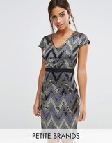 Paper Dolls Petite V Neck Cap Sleeve All Over Sequin Pencil Dress