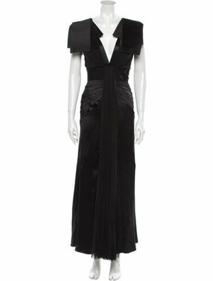 J. Mendel V-Neck Long Dress Black