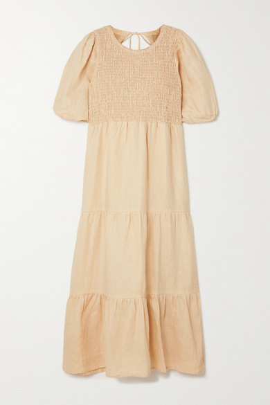 Faithfull The Brand Net Sustain Alberte Open-back Shirred Linen Midi Dress