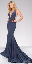 Jovani Plunging Open Back Jersey Mermaid Evening Dress