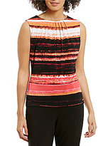 Calvin Klein Watercolor Stripe Print Pleat Neck Matte Jersey Shell