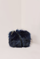 Missguided Mini Faux Fur Clutch Bag Navy