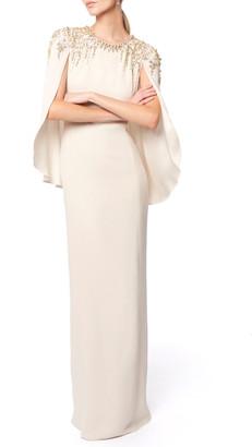 Jenny Packham Romantica Crepe Caped Gown