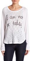 Lauren Moshi Front Knit Graphic Long Sleeve Tee
