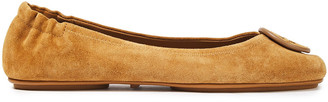 Tory Burch Minnie Travel Logo-appliqued Suede Ballet Flats