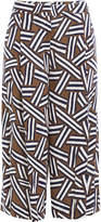 Diane von Furstenberg Printed Wide Leg Cropped Pants