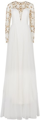 Pamella Roland White embellished tulle gown