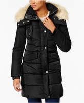 French Connection Faux-Fur-Trim Mixed-Media Coat