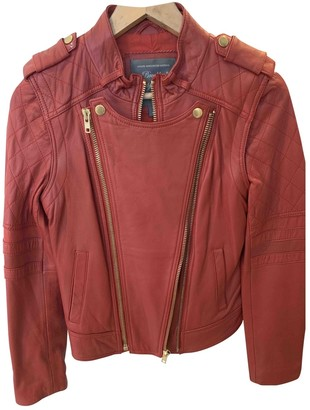 Factory Brooklyn Bridge Red Leather Jacket for Women