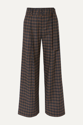 Vince Belted Checked Woven Wide-leg Pants - Brown