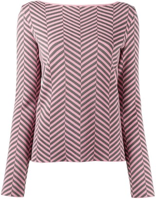 Emporio Armani Chevron-Print Long-Sleeved Jumper