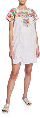 Johnny Was Tamia Short-Sleeve Voile Tunic Dress
