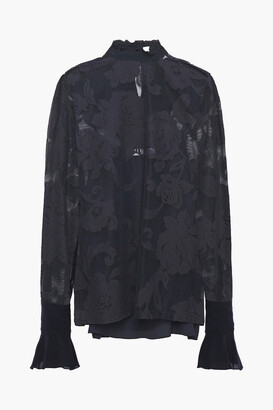 See by Chloe Ruffled Crepe De Chine And Lace Blouse
