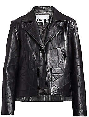 Ganni Women's Patch Leather Jacket