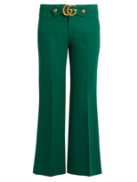 Gucci GG wool and silk-blend cady kick-flare trousers