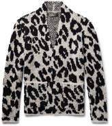 Amiri - Snow Leopard Bouclé-knit Wool-blend Cardigan