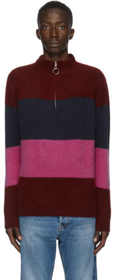 The Elder Statesman SSENSE Exclusive Burgundy and Multicolor Three Block Half-Zip Sweater