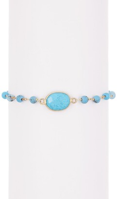 Forever Creations Usa Inc. Gold Vermeil Sterling Silver Wire Wrapped Turquoise Bead Bracelet