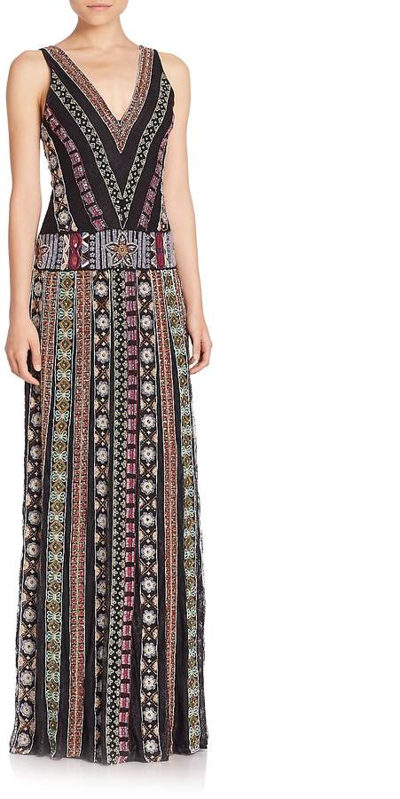 Alice + Olivia Women's Ersa Embroidered Maxi Dress