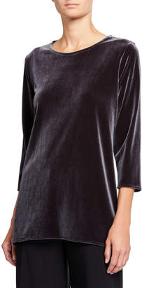 Caroline Rose Plus Size 3/4-Sleeve Stretch Velvet Party Top