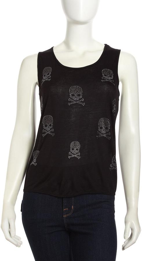Romeo & Juliet Couture Rhinestone Cross & Bones Tank