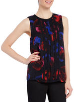 Ellen Tracy Floral Printed Sleeveless Double-Layered Top