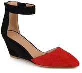 Journee Collection Women's Kova Faux Suede Ankle Strap Pointed Toe Wedges