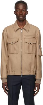 Valentino Beige Camel Aviator Jacket