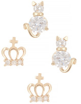 Betsey Johnson Cat Crown Duo Stud Earrings