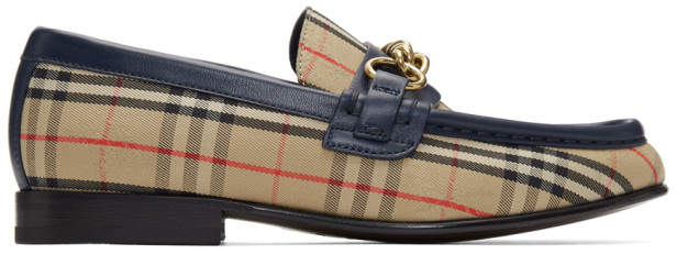 Burberry Beige and Navy Moorely Check Loafers
