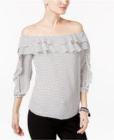 INC International Concepts Petite Dot-Print Off-The-Shoulder Top, Only at Macy's