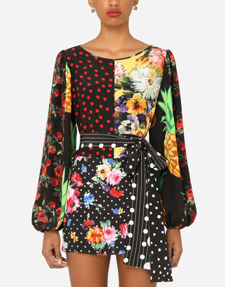 Dolce & Gabbana Long-Sleeved Patchwork Crepe De Chine Blouse With Belt