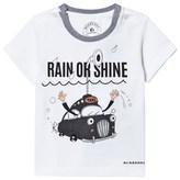 Burberry White Junior Rain Or Shine Print Tee