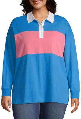 Arizona Womens Collar Neck Long Sleeve Polo Shirt