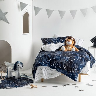 Hiccups Star Atlas Navy Quilt Cover Set Double Bed