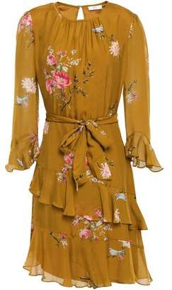Joie Belted Floral-print Silk Mini Dress