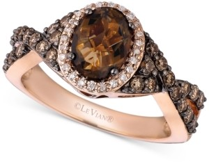 LeVian Le Vian Chocolate Quartz (1-1/8 ct. t.w.), Chocolate Diamond (1/2 ct. t.w.) and Vanilla Diamond (1/10 ct. t.w.) Ring in 14k Rose Gold