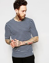 Wood Wood T-shirt With Breton Stripe In Navy