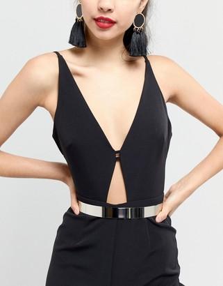 Asos Design DESIGN skinny full metal waist belt-Silver