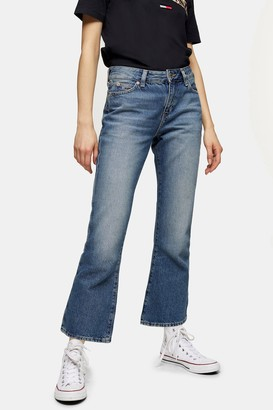 Tommy Hilfiger Womens Crop Flare Trousers By Tommy Jeans - Mid Stone