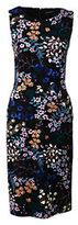 Classic Women's Petite Ponté Sheath Dress-Black Paisley