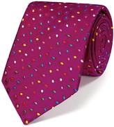 Charles Tyrwhitt Pink silk luxury multi spot floral tie
