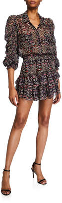 MISA Los Angeles Adora Printed Button-Front Ruffle Dress