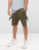 Asos Drop Crotch Shorts with D Rings in Khaki
