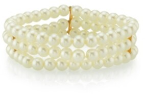2028 Gold-Tone Simulated Pearl 3-Row Bracelet